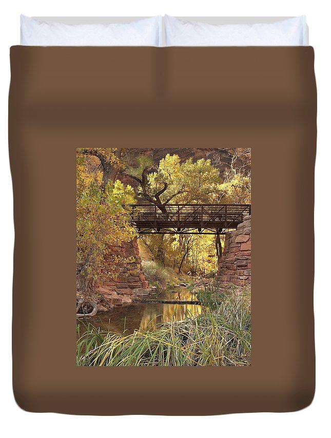 3scape Duvet Cover featuring the photograph Zion Bridge by Adam Romanowicz