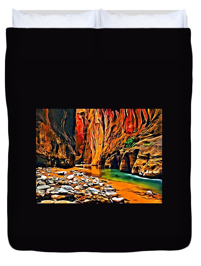 Landscape Duvet Cover featuring the painting Zion Canyon by Florian Rodarte