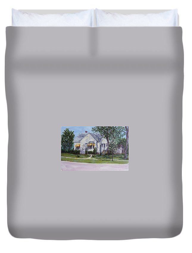 Small House Duvet Cover featuring the painting Zion House by Mary Haas