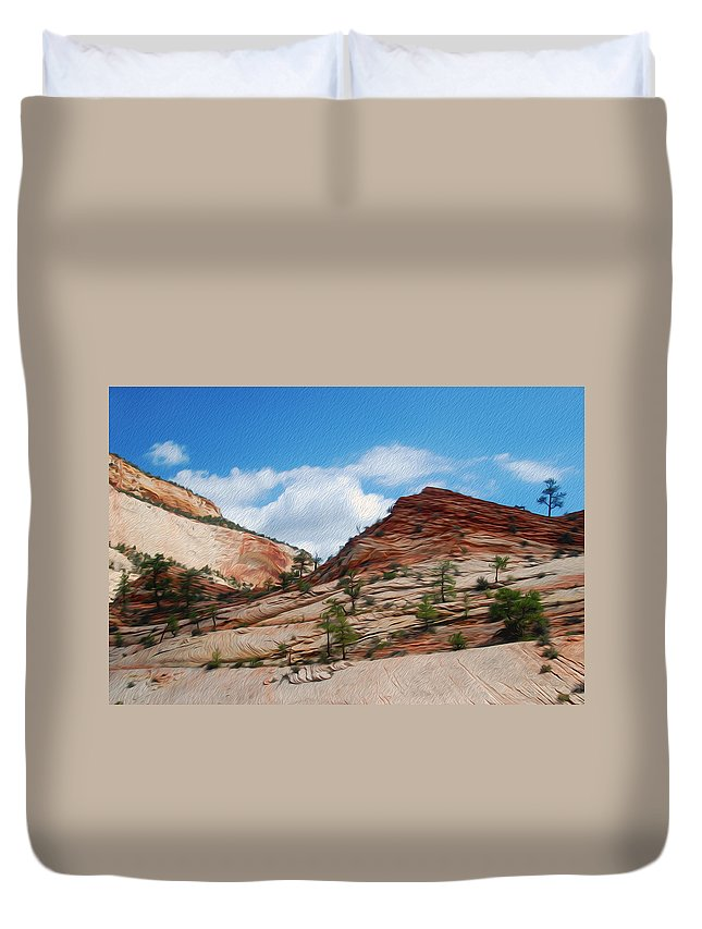 Zion National Park Duvet Cover featuring the photograph Zion National Park 1 by Tracy Winter