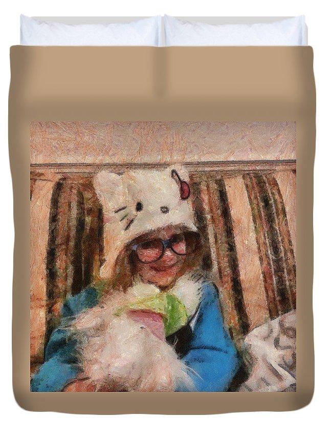 Digital Duvet Cover featuring the digital art Zo-bags by Carol Sullivan