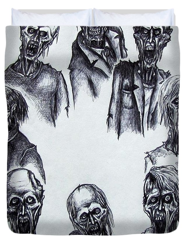 Michael Duvet Cover featuring the drawing Zombies by Michael TMAD Finney