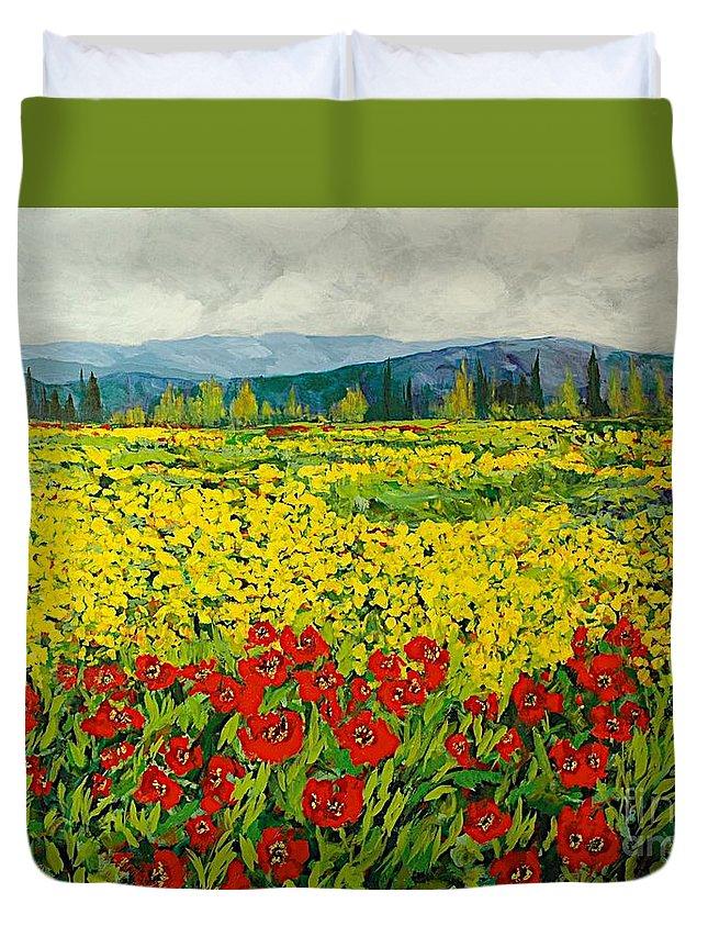 Landscape Duvet Cover featuring the painting Zone Des Fleur by Allan P Friedlander