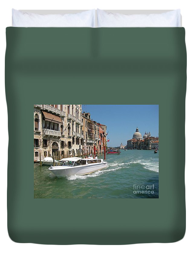 Zooming On The Canals Of Venice Duvet Cover featuring the photograph Zooming On The Canals Of Venice by John Malone