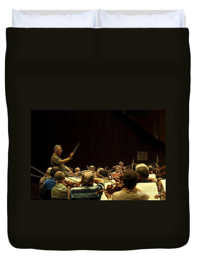 Zubin Mehta Duvet Cover featuring the photograph Zubin Mehta Israeli Philharmonic by Shay Fogelman