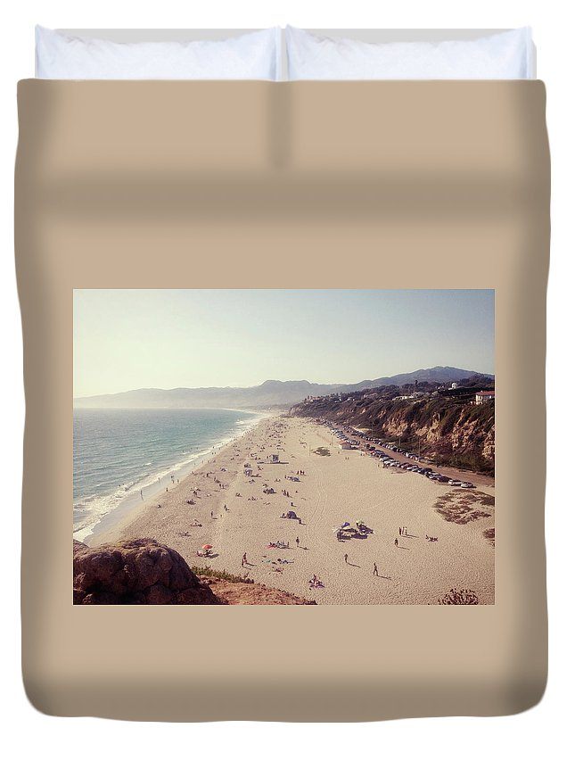 Water's Edge Duvet Cover featuring the photograph Zuma Beach At Sunset Malibu, Ca by William Andrew