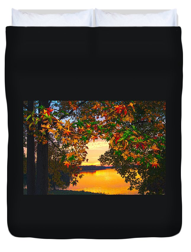 Leaves Duvet Cover featuring the photograph Autumn Leaves A View by Randall Branham