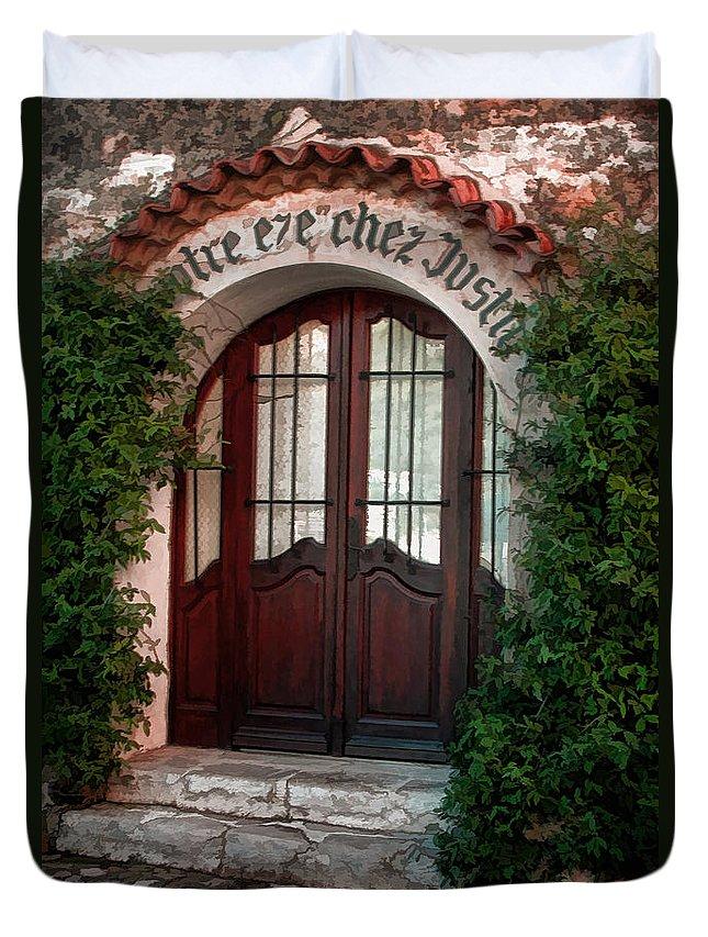 Tom Prendergast Duvet Cover featuring the photograph Doorway Eze by Tom Prendergast