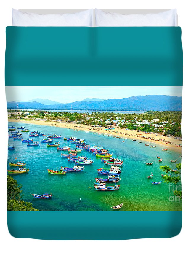 Fishing Duvet Cover featuring the photograph Fishing Village by MotHaiBaPhoto Prints