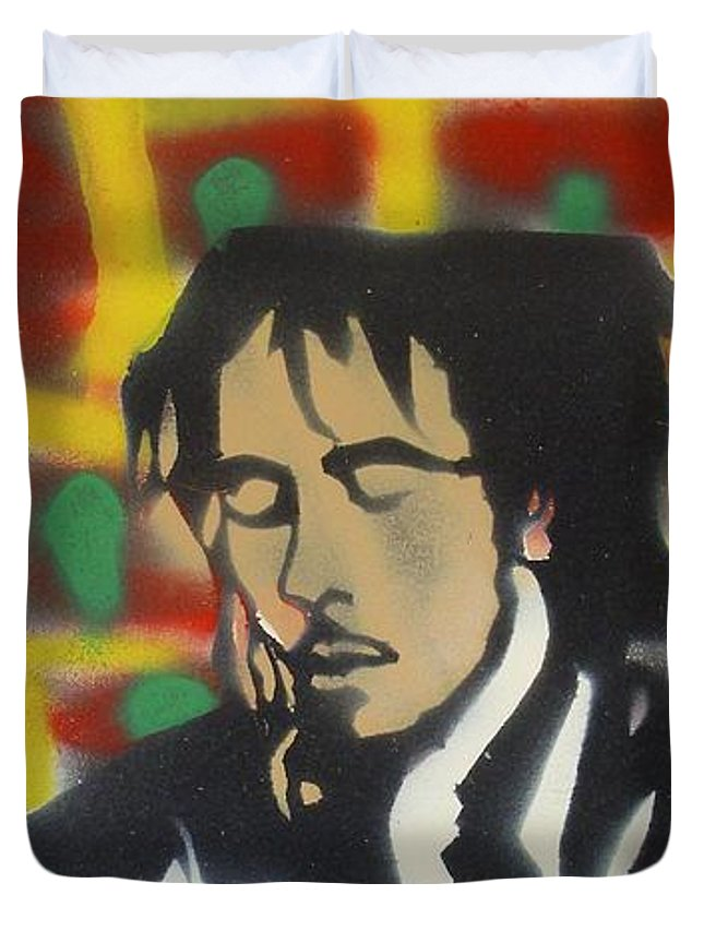 Hip Hop Duvet Cover featuring the painting Marley Soul Guitar by Tony B Conscious