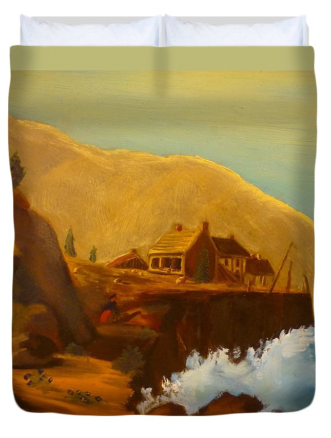 Ocean Crashing Into Rocks By Fishing Cabin Duvet Cover featuring the painting Gathering Of Flowers By The Fishing Cabin by Casey P