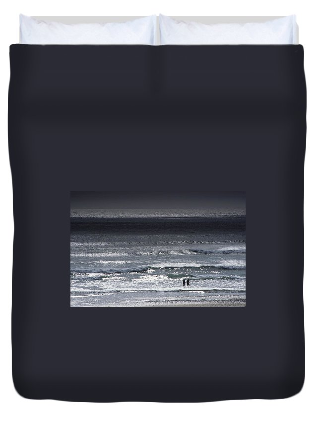 Ocean Duvet Cover featuring the photograph Wading In The Water by One Rude Dawg Orcutt