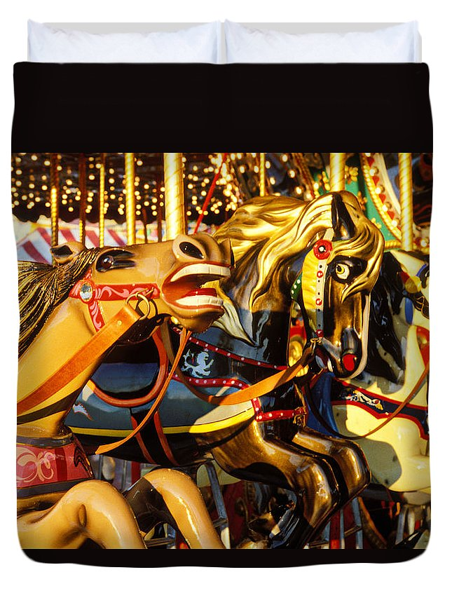 Wild Carrousel Horses Duvet Cover featuring the photograph Wild Carrousel Horses by Garry Gay