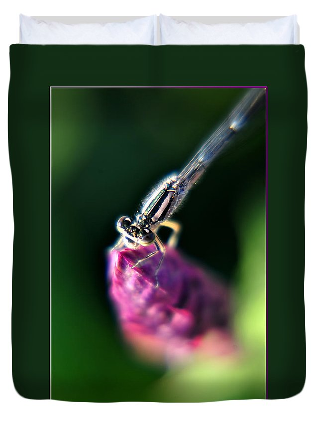 Duvet Cover featuring the photograph 0002 Dragonfly On A Salvia Burgundy Candle by Michael Frank Jr