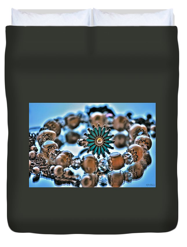 Duvet Cover featuring the photograph 0003 Turquoise And Pearls by Michael Frank Jr