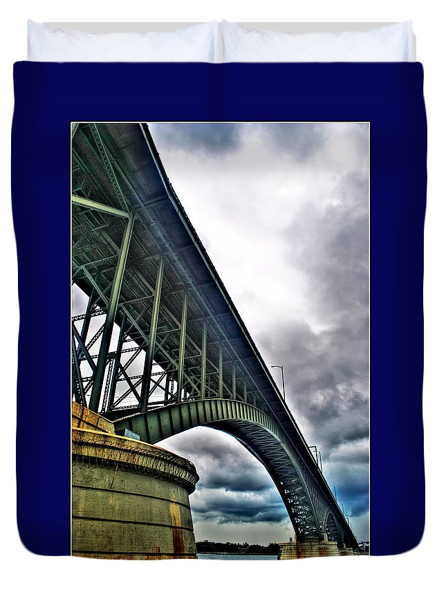 Duvet Cover featuring the photograph 002 Stormy Skies Peace Bridge Series by Michael Frank Jr