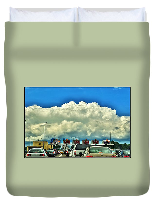 Duvet Cover featuring the photograph 003 Grand Island Bridge Series by Michael Frank Jr