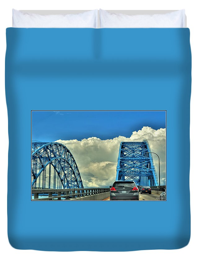 Duvet Cover featuring the photograph 005 Grand Island Bridge Series by Michael Frank Jr