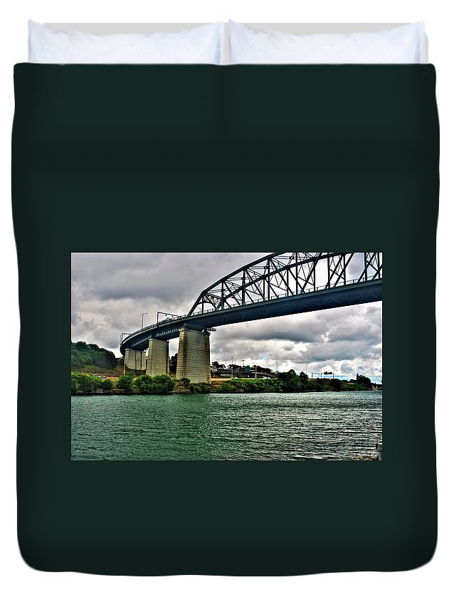 Duvet Cover featuring the photograph 006 Stormy Skies Peace Bridge Series by Michael Frank Jr