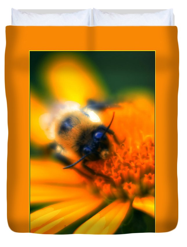 Duvet Cover featuring the photograph 007 Sleeping Bee Series Now Awake  Ovo by Michael Frank Jr