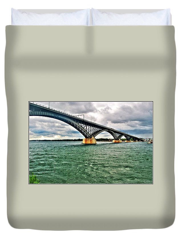 Duvet Cover featuring the photograph 007 Stormy Skies Peace Bridge Series by Michael Frank Jr