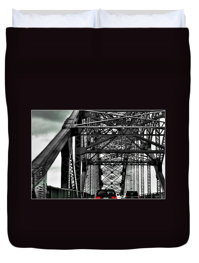 Duvet Cover featuring the photograph 008 Grand Island Bridge Series by Michael Frank Jr