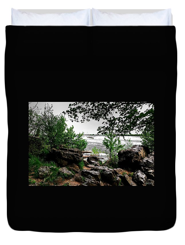 Duvet Cover featuring the photograph 01 Three Sisters Island by Michael Frank Jr