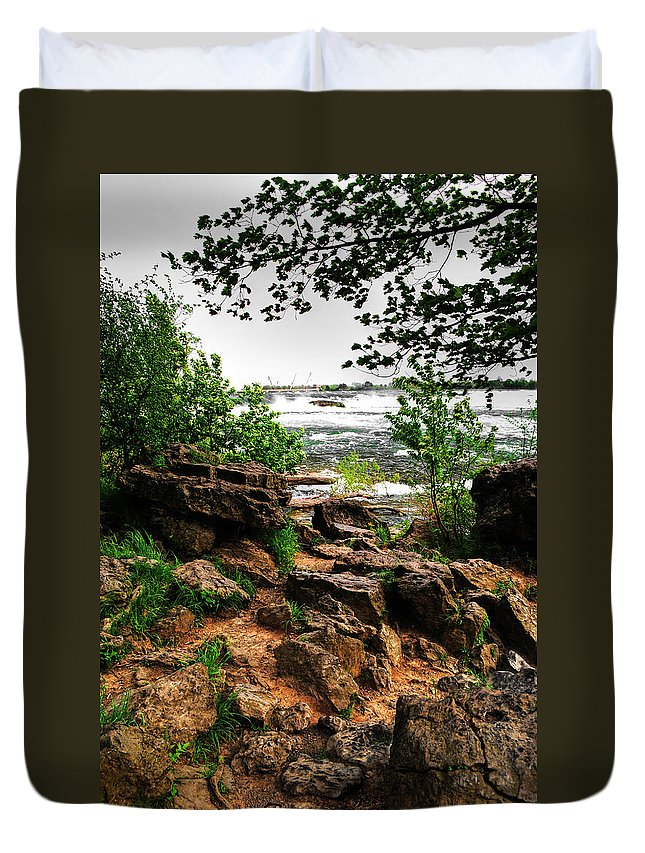 Duvet Cover featuring the photograph 02 Three Sister Islands by Michael Frank Jr