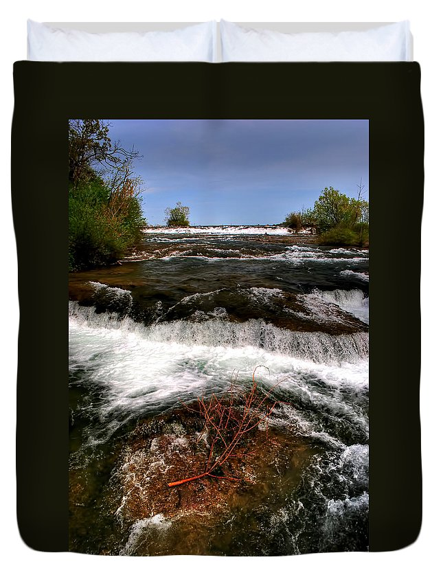Duvet Cover featuring the photograph 04 To The Three Sisters Island by Michael Frank Jr