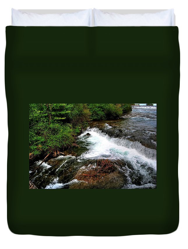 Duvet Cover featuring the photograph 05 The Three Sisters Island by Michael Frank Jr