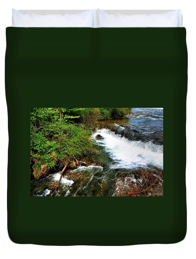 Duvet Cover featuring the photograph 05 To The Three Sisters Island by Michael Frank Jr