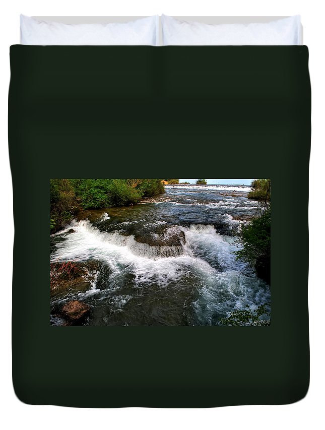 Duvet Cover featuring the photograph 06 To The Three Sisters Island by Michael Frank Jr