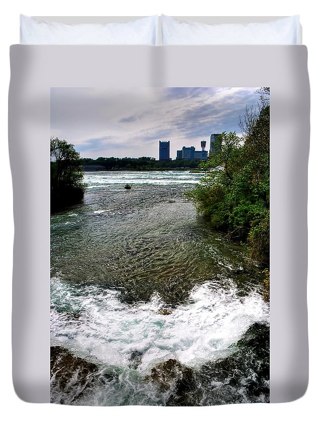 Duvet Cover featuring the photograph 08 To The Three Sisters Island by Michael Frank Jr