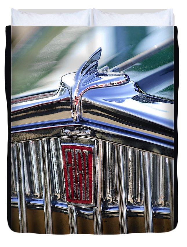 1933 Fiat Balilla Duvet Cover featuring the photograph 1933 Fiat Balilla Hood Ornament by Jill Reger