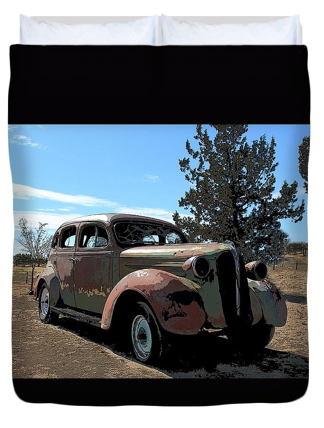 1937 Plymouth 4 Door Sedan Duvet Cover featuring the photograph 1937 Plymouth by Athena Mckinzie