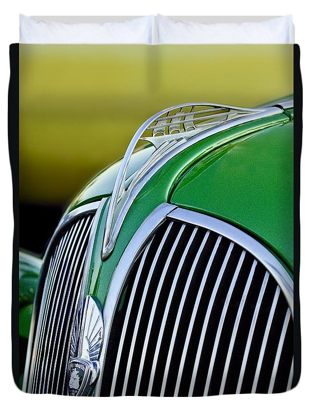 1937 Plymouth Duvet Cover featuring the photograph 1937 Plymouth Hood Ornament by Jill Reger