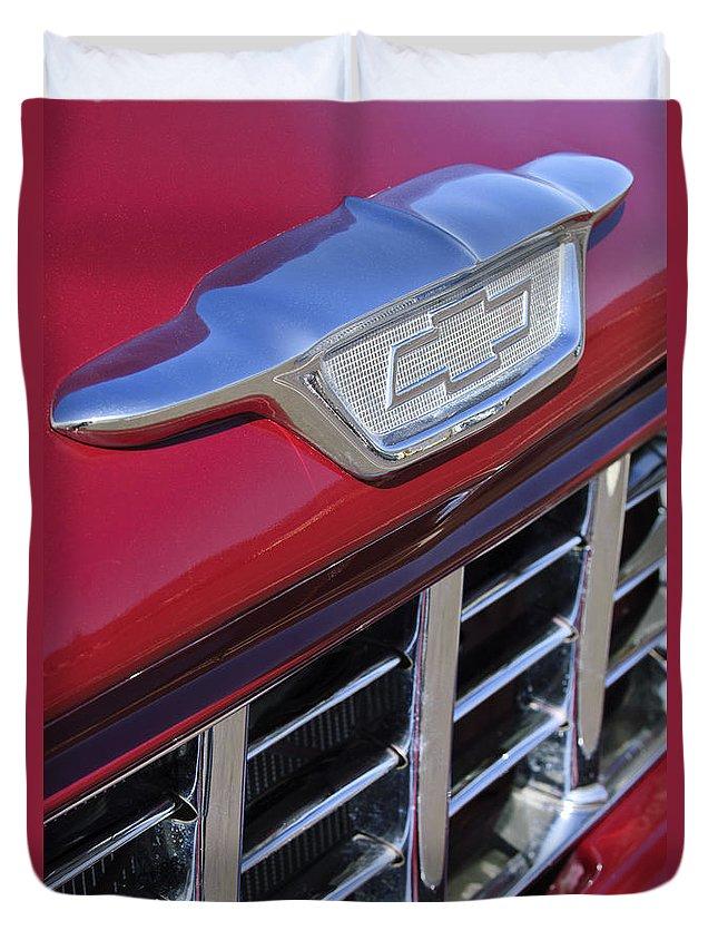 1955 Chevrolet Pickup Truck Duvet Cover featuring the photograph 1955 Chevrolet Pickup Truck Grille Emblem by Jill Reger