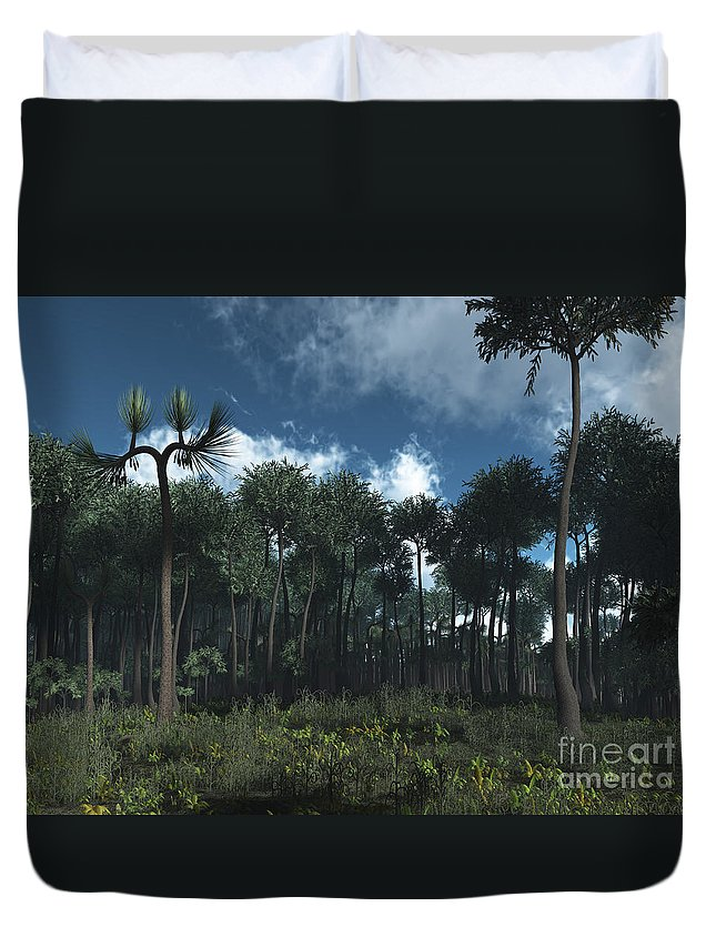 Earth Duvet Cover featuring the digital art A Carboniferous Forest Of Midwestern by Walter Myers