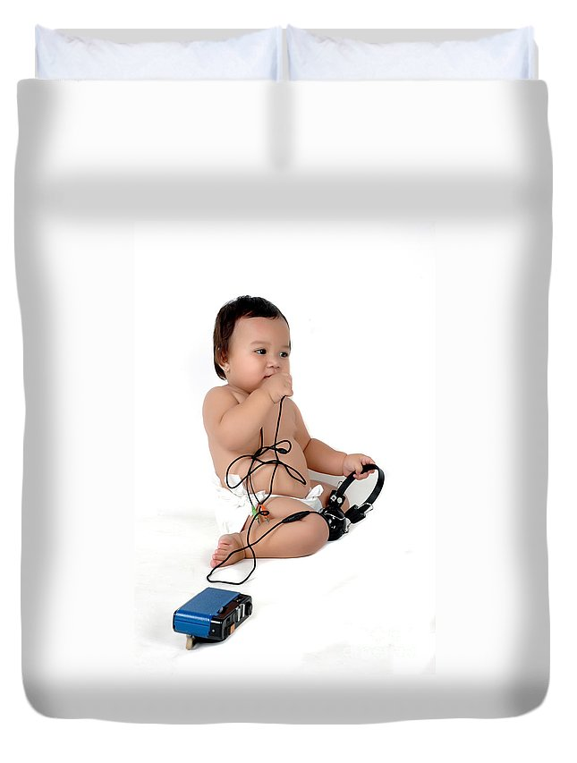 Baby Duvet Cover featuring the photograph A Chubby Little Girl Sit With A Vintage Camera by Antoni Halim