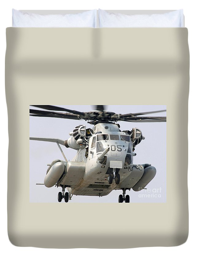 Horizontal Duvet Cover featuring the photograph A U.s. Marine Corps Ch-53e Super by Stocktrek Images