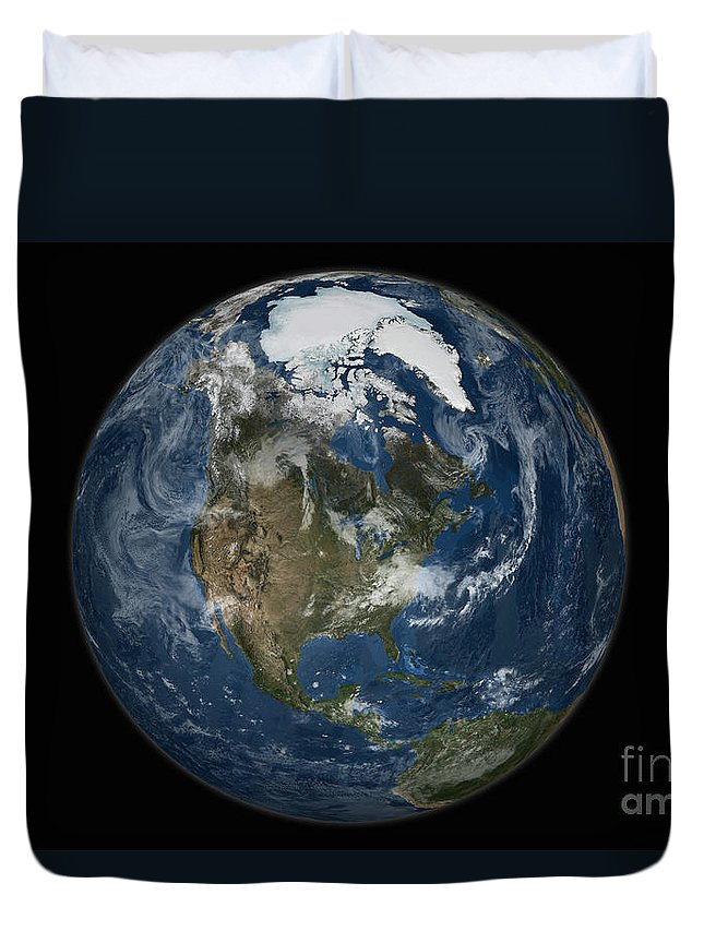Arctic Duvet Cover featuring the photograph A View Of The Earth With The Full by Stocktrek Images