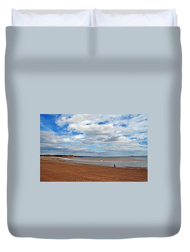Beach Duvet Cover featuring the photograph A Walk On The Beach by Jeff Galbraith