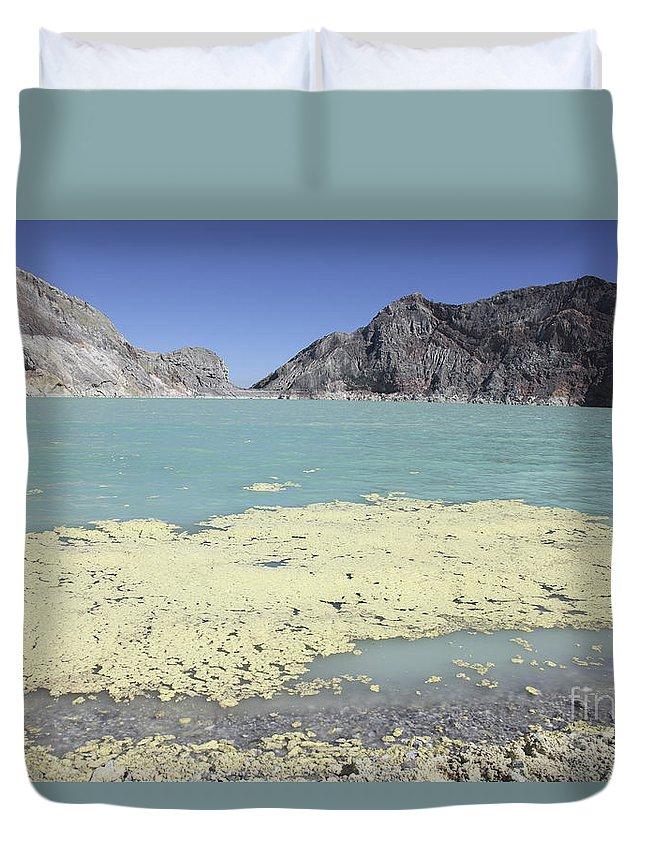 Java Duvet Cover featuring the photograph Acidic Crater Lake, Kawah Ijen Volcano by Richard Roscoe