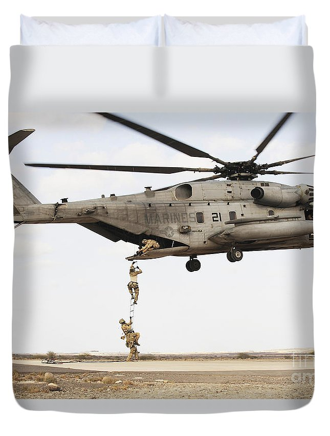 Africom Duvet Cover featuring the photograph Air Force Pararescuemen Conduct by Stocktrek Images