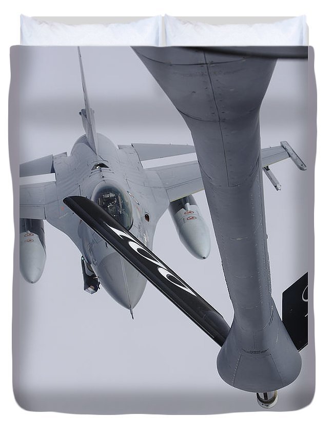 Transportation Duvet Cover featuring the photograph Air Refueling A Norwegian Air Force by Daniel Karlsson
