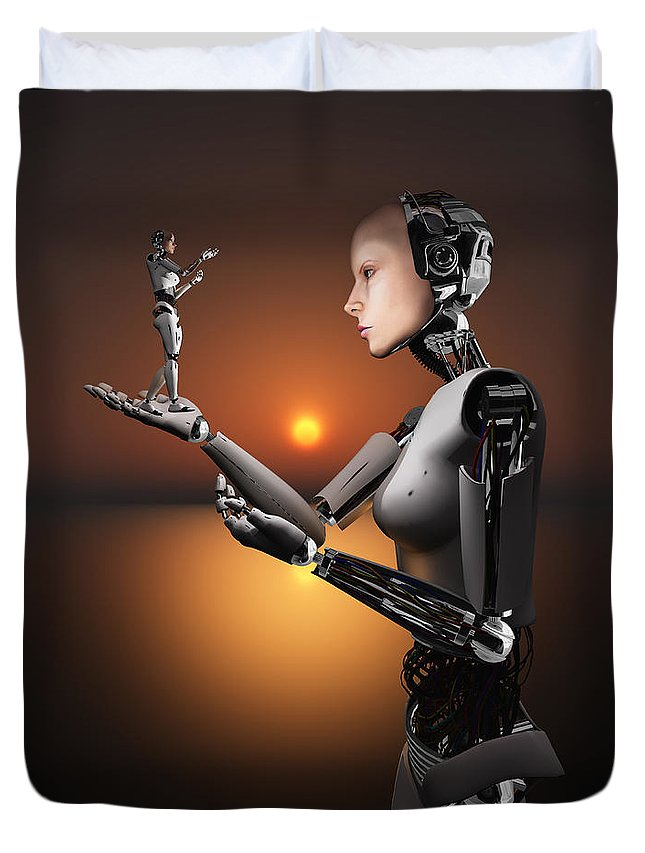 Hands Duvet Cover featuring the digital art An Android Takes A Closer Look by Mark Stevenson