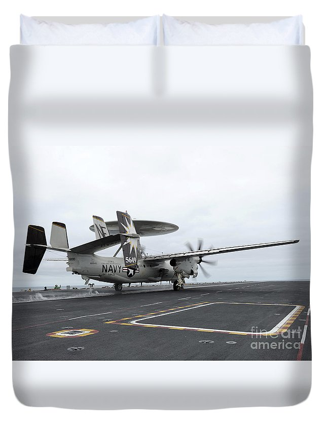 Uss Abraham Lincoln Duvet Cover featuring the photograph An E-2c Hawkeye Launches Off The Flight by Stocktrek Images