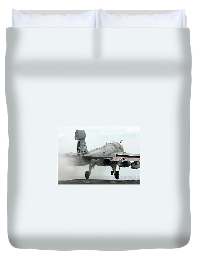 Horizontal Duvet Cover featuring the photograph An Ea-6b Prowler Launches by Stocktrek Images
