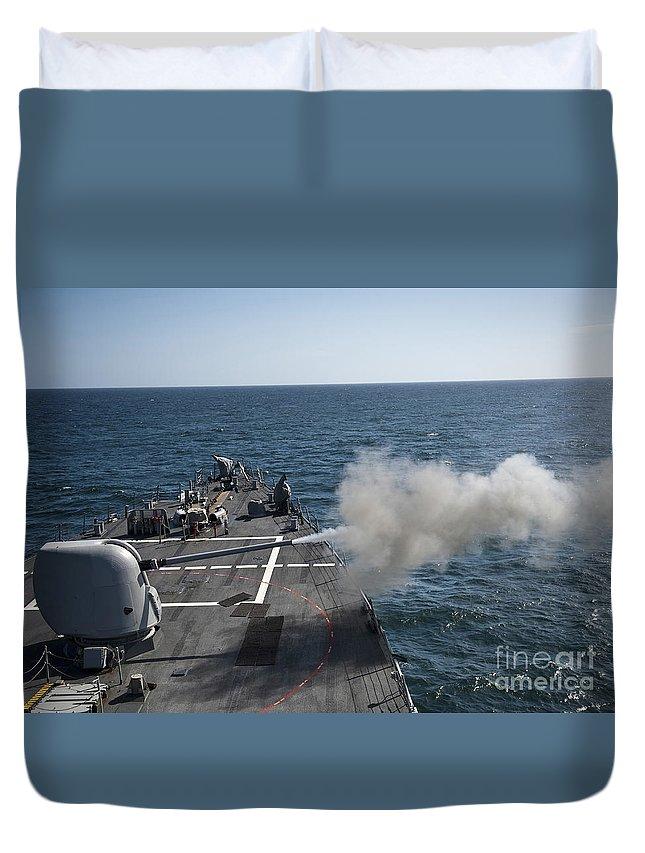 Exercise Joint Warrior Duvet Cover featuring the photograph An Mk-45 Lightweight Gun Is Fired by Stocktrek Images