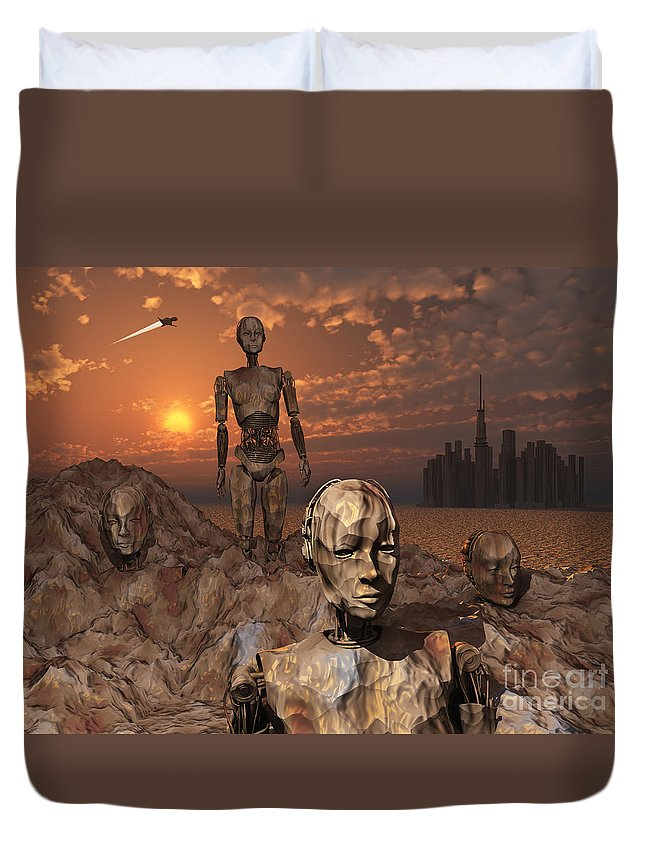 Evolution Duvet Cover featuring the digital art Android Fossils Preserved by Mark Stevenson